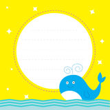 Frame with cute cartoon whale and sparkles. Happy Birthday party Royalty Free Stock Photography