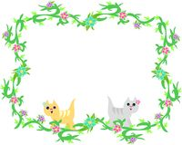 Frame of Cute Cats and Tropical Plants Royalty Free Stock Image