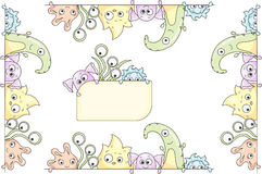 Frame with cute colorful monsters and aliens Royalty Free Stock Images