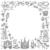 Frame with cute fairy tale and magic objects. Doodle Vector. stock illustration