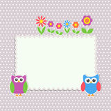 Frame with cute owls and flowers Royalty Free Stock Photo