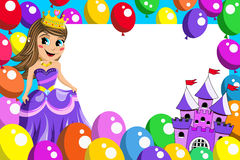 Frame cute princess fairy castle balloons Stock Photos