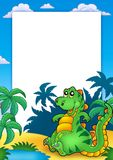 Frame with cute sitting dinosaur. Color illustration Stock Photos