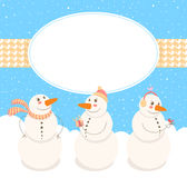 Frame with cute Snowmen. Winter frame with birds and three cute snowmen Stock Photography