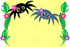 Frame of Cute Spiders and Plants Royalty Free Stock Image
