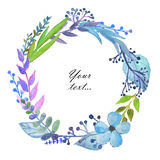 Frame with cute watercolor branches, leaves and flowers on white background. Greeting, invitation card, cover of notebook Royalty Free Stock Photo