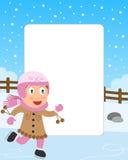 Frame da foto da menina da patinagem de gelo Imagens de Stock Royalty Free