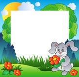 Frame da mola com coelho e flores Fotografia de Stock Royalty Free