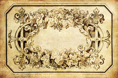 Frame da planta do vintage no papel velho Imagem de Stock Royalty Free
