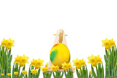 Frame with daffodils and Easter Egg Royalty Free Stock Image