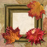 Frame with dahlia and autumn leaf Royalty Free Stock Images
