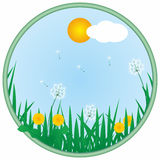 Frame with dandelions. Vector round frame with dandelions Royalty Free Stock Image