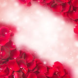 Frame of dark  red rose petals Stock Photography