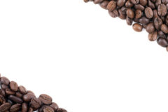 Frame of dark roasted coffee beans Royalty Free Stock Photo