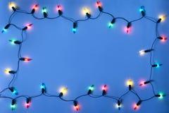Frame das luzes de Natal Fotos de Stock Royalty Free