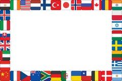 Frame dat van de pictogrammen van de wereldvlag wordt gemaakt Stock Fotografie