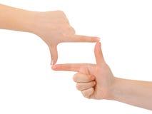 Frame dat van handen wordt gemaakt stock foto's