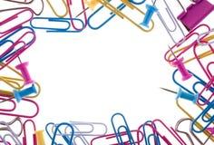 Frame dat van paperclips wordt gemaakt stock afbeelding