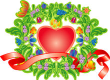 Frame by day of St. Valentine. Heart end flowers by day of St. Valentine Royalty Free Stock Photo