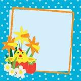 Frame de Easter com pintainho Fotografia de Stock