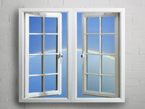 Frame de indicador branco moderno com céu e arco-íris Fotos de Stock