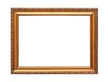 Frame de madeira chapeado ouro com trajeto de grampeamento Fotografia de Stock