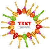 Frame de madeira colorido dos maracas do brinquedo Imagem de Stock Royalty Free