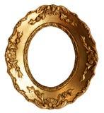 Frame de madeira do espelho do ouro pequeno velho com ornamento Imagens de Stock