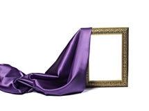 Frame de madeira do fundo de seda da textura da tela do cetim Fotografia de Stock