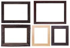 Frame de madeira isolado no branco Fotografia de Stock Royalty Free