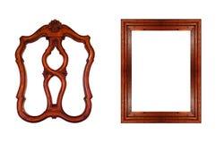 Frame de madeira isolado no fundo branco Objeto isolado fotos de stock