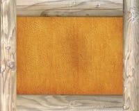 Frame de madeira no fundo do pergaminho Fotos de Stock Royalty Free
