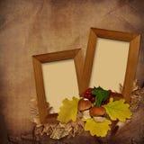 Frame de madeira no fundo do vintage Imagem de Stock
