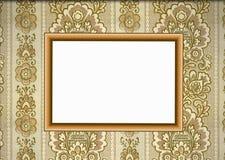 Frame de madeira no papel de parede Ilustração Royalty Free