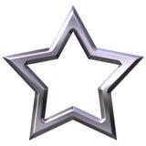 frame de prata da estrela 3D Imagens de Stock