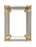 Frame de prata do ouro isolado no branco Imagens de Stock