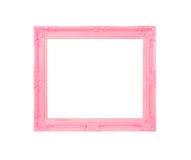 Frame de retrato cor-de-rosa do vintage no fundo de madeira azul Imagem de Stock