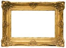 Frame de retrato de madeira chapeado ouro com trajeto Fotografia de Stock Royalty Free