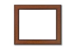 Frame de retrato de madeira de Brown no branco Fotografia de Stock