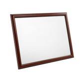 Frame de retrato de madeira isolado no fundo branco Fotografia de Stock Royalty Free
