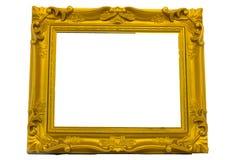 Frame de retrato do ouro. isolado no branco Imagens de Stock Royalty Free