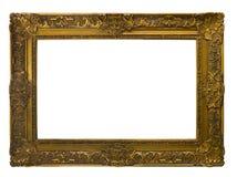 Frame de retrato do ouro Isolado sobre o branco Imagem de Stock