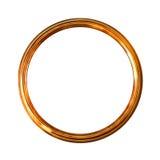 Frame de retrato velho dourado redondo, isolado no branco Imagem de Stock Royalty Free