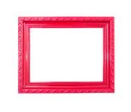 Frame de retrato vermelho do vintage no fundo branco Fotografia de Stock