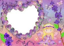 Frame in de vorm van hart in lilac kleuren. Royalty-vrije Stock Foto