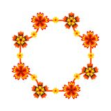 Frame decorated with bright flowers. Isolated on white background. bright Vector illustration stock illustration