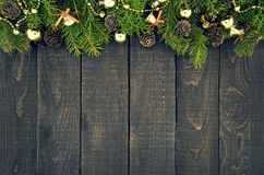 Frame From Decorated Christmas Tree On Rustic Wooden Background Stock Photo