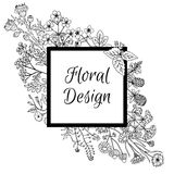 Frame decorated with hand drawn flowers in graphic style. Square frame decorated with hand drawn flowers in graphic style. Can be used for labels, banner Royalty Free Stock Photo