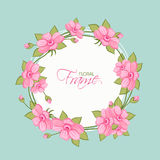Frame decorated by pink flowers. Royalty Free Stock Images