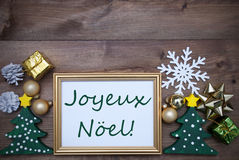 Frame With Decoration, Joyeux Noel Mean Merry Christmas Stock Images